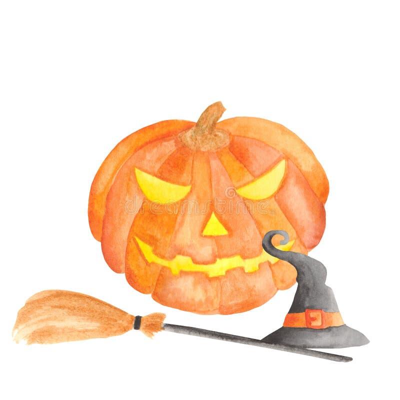 Akwarela ustawiająca dla Halloween Bania, czarownica kapelusz, miotła, girlanda, lampion, nietoperz, piłki, pajęczyna, pająk royalty ilustracja