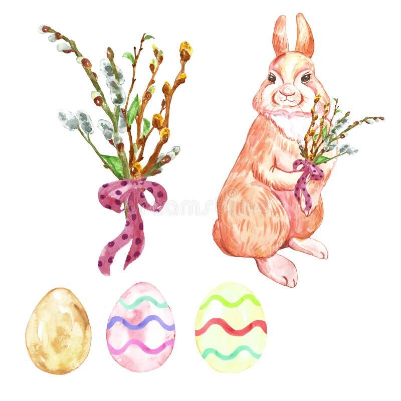 Akwarela ustawiająca dla wielkanocy z ręką malował ślicznego królika, barwionych jajek i dekoracyjnego gałąź bukieta, royalty ilustracja