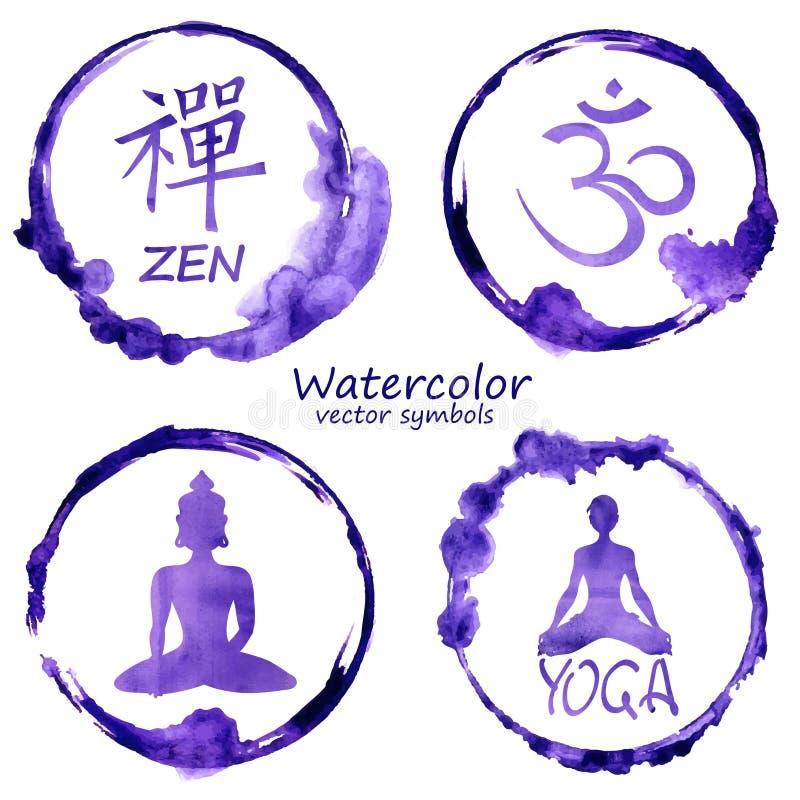 Akwarela ustawiająca joga i buddhism ikony ilustracja wektor