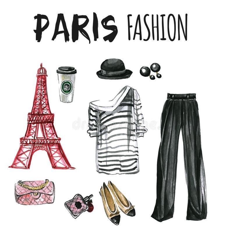 Akwarela ustawiająca mod ikony Paryskie ilustracja wektor