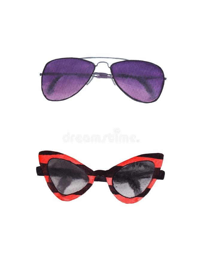 Akwarela ustawiająca okulary przeciwsłoneczni odizolowywający ilustracja wektor