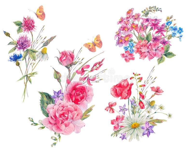 Akwarela ustawiająca rocznika bukiet ogrodowi kwiaty royalty ilustracja