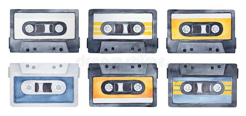 Akwarela ustawiająca rocznika układu kasety ilustracji