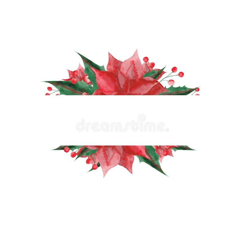 Akwarela ustawiająca z boże narodzenie kwiatami i liśćmi royalty ilustracja