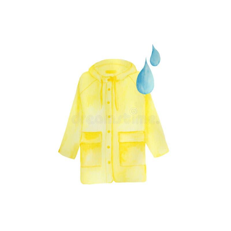 Akwarela ustawiająca z koloru żółtego deszczem, parasol, tęcza, raindrops royalty ilustracja