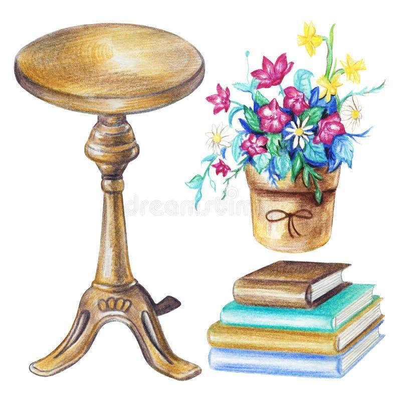 Akwarela ustawiająca z round krzesłem, garnkiem z kwiatami i książkami, royalty ilustracja