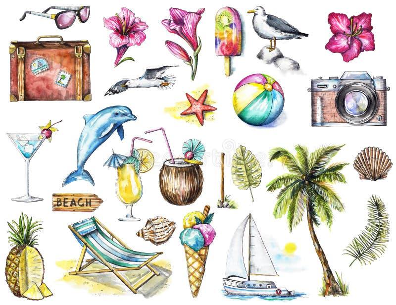 Akwarela ustawiająca z wiele lato plaży przedmiotami royalty ilustracja