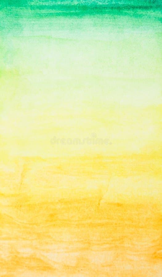 Akwarela w zieleni i żółtym kolorze dla abstrakta i tła obrazy royalty free
