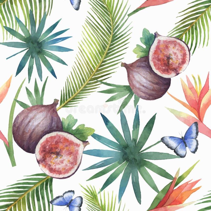 Akwarela wektorowy bezszwowy wzór figi i drzewka palmowe odizolowywający na białym tle ilustracji