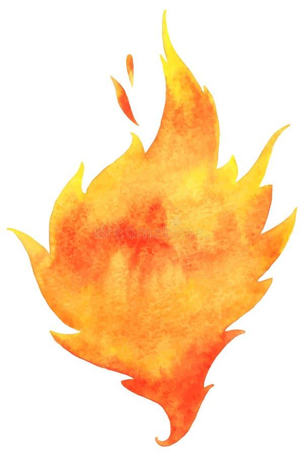 Akwarela wektoru ogień ilustracji