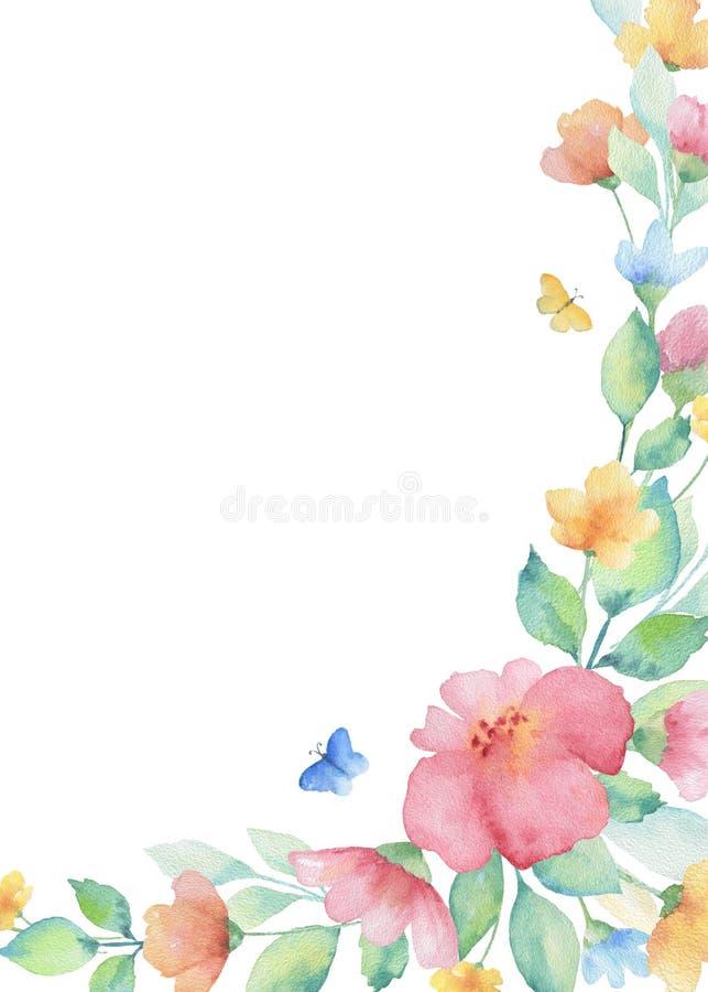 Akwarela wianek kolorowi kwiaty royalty ilustracja