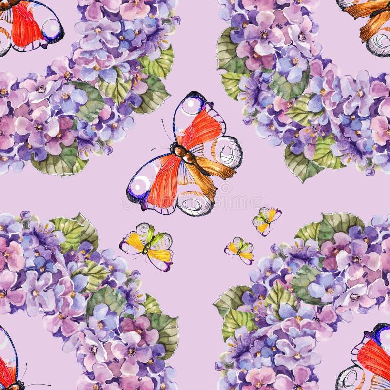 Akwarela wianek kwitnie z motylem na różowym tle płynnie ilustracji