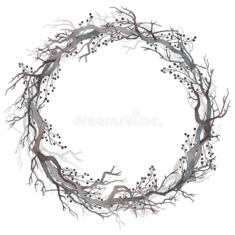 Akwarela wianek nagie gałąź i jagody ilustracji