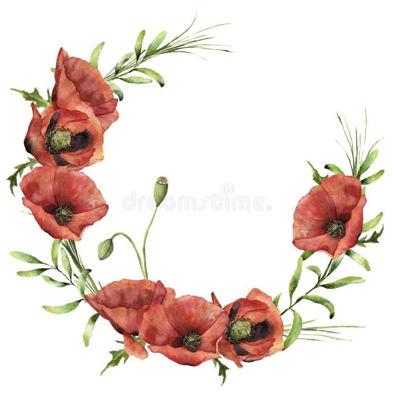 Akwarela wianek z maczkami i greenery Ręka malująca kwiecista ilustracja z kwiatami, liśćmi i gałąź trawa, ilustracji
