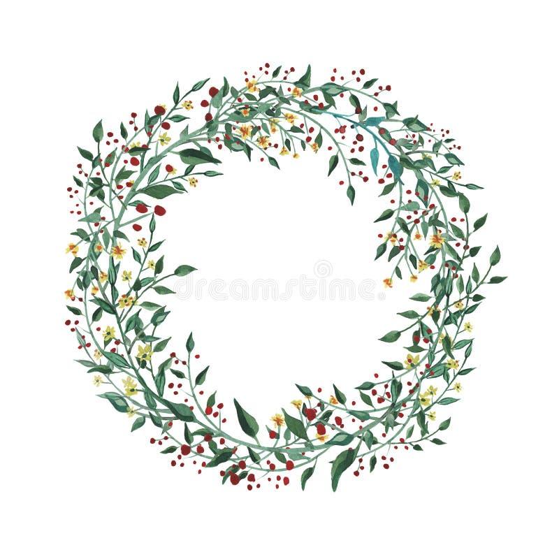 Akwarela wianek z wildflower, ziele, liść kolekcja ogród, dziki ulistnienie, kwiaty, rozgałęzia się royalty ilustracja