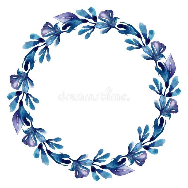 Akwarela wianku błękitna rama Botaniczna kwiecista klamerki sztuka ilustracja wektor