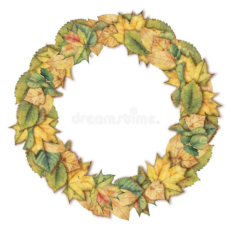 Akwarela wianku wzór z kolorowymi jesień liśćmi zdjęcie stock