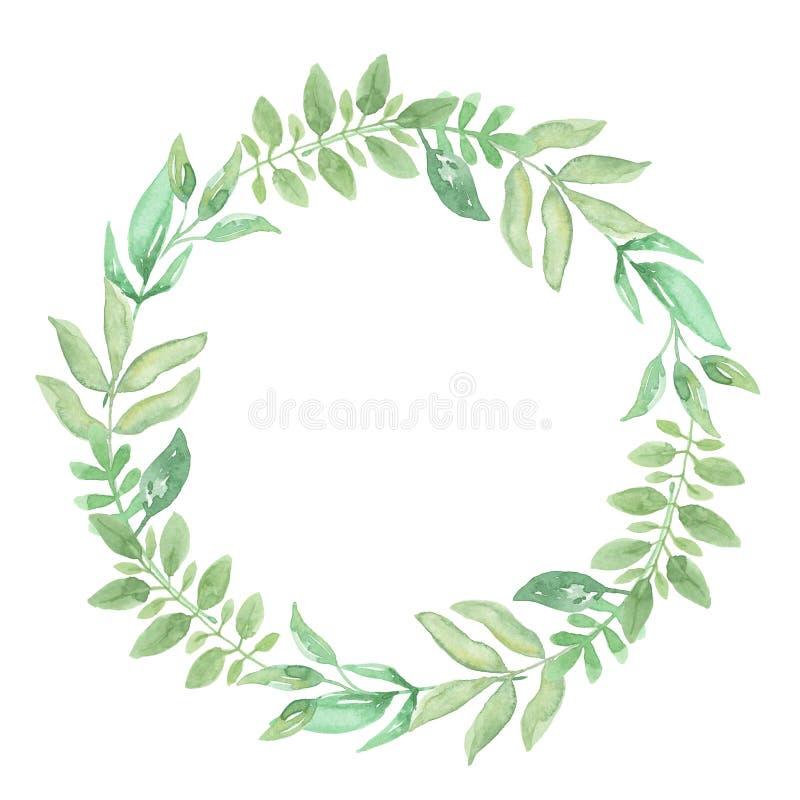 Akwarela wianku Zielona rama Opuszcza Ślubnej wiosny lata girlandy oliwki ilustracja wektor