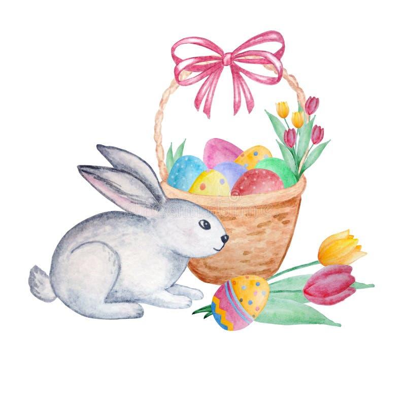 Akwarela Wielkanocny śliczny królik z koszem z jajkami i tulipanami royalty ilustracja