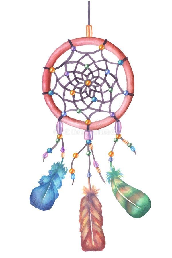 Akwarela wymarzony łapacz szczotkarski węgiel drzewny rysunek rysujący ręki ilustracyjny ilustrator jak spojrzenie robi pastelowi ilustracja wektor