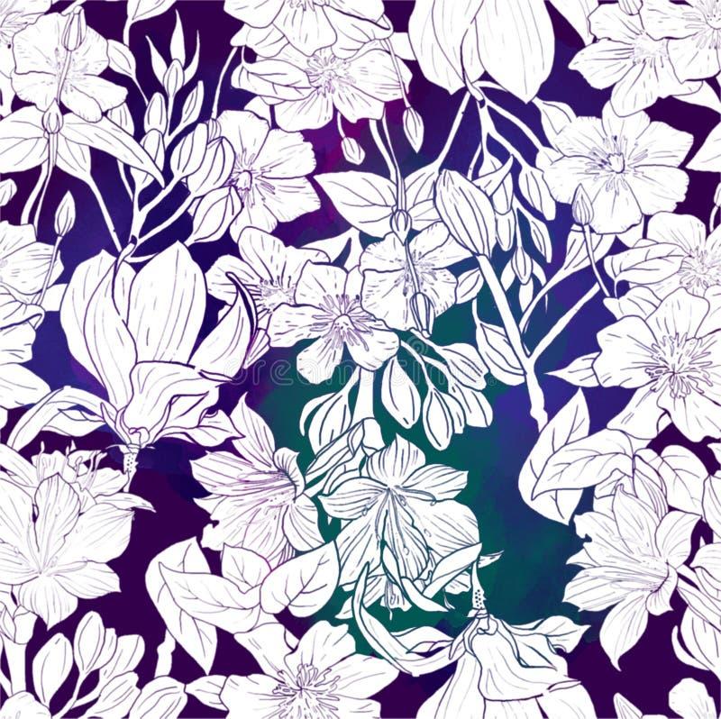 Akwarela wzór egzotyczni kwiaty ilustracji