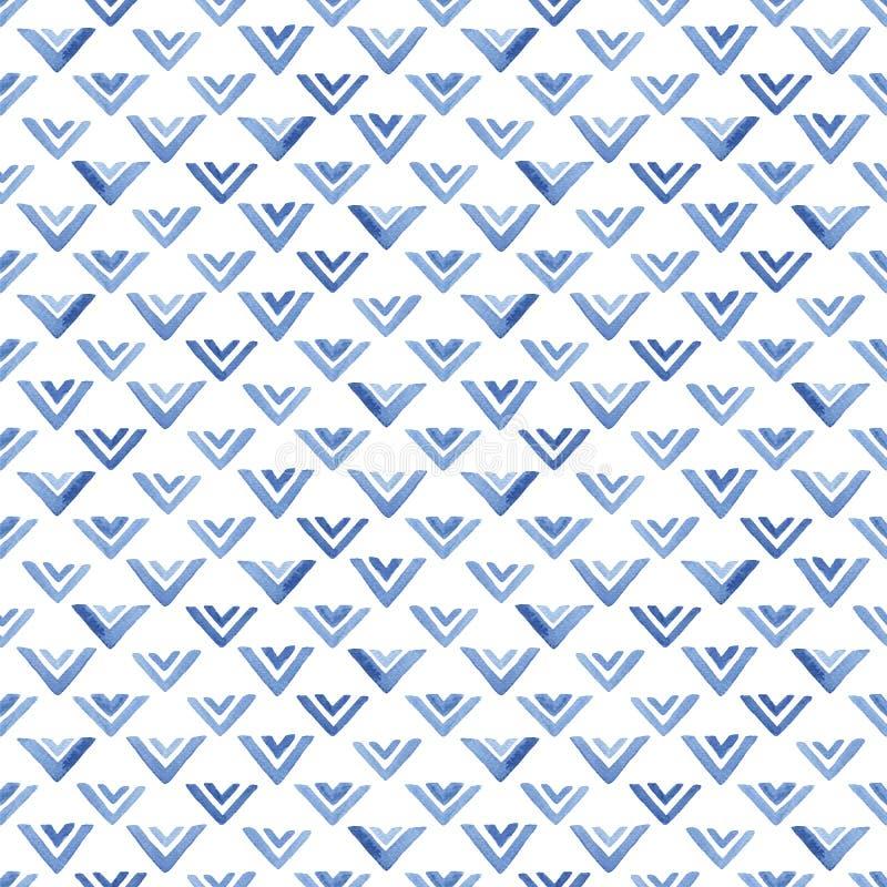 Akwarela wzór z błękitnymi trójbokami royalty ilustracja