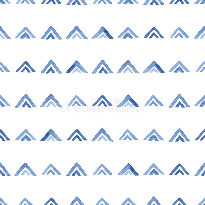 Akwarela wzór z błękitnymi trójbokami ilustracja wektor