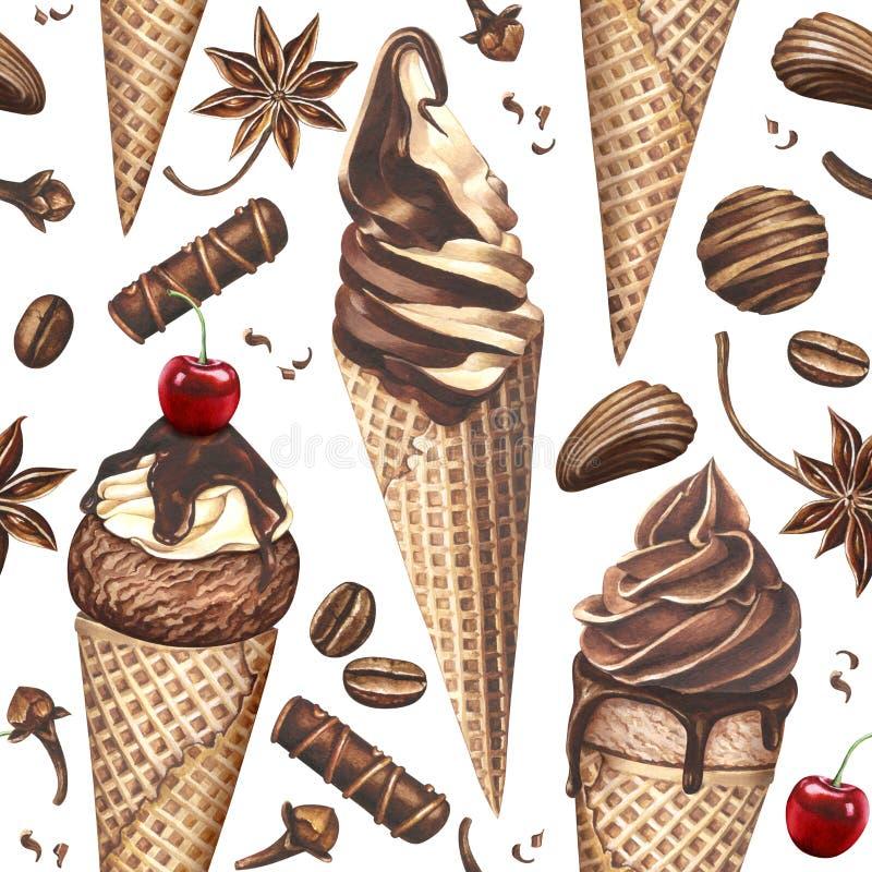 Akwarela wzór z lody, cukierkami, kawowymi fasolami i pikantność na białym tle, royalty ilustracja
