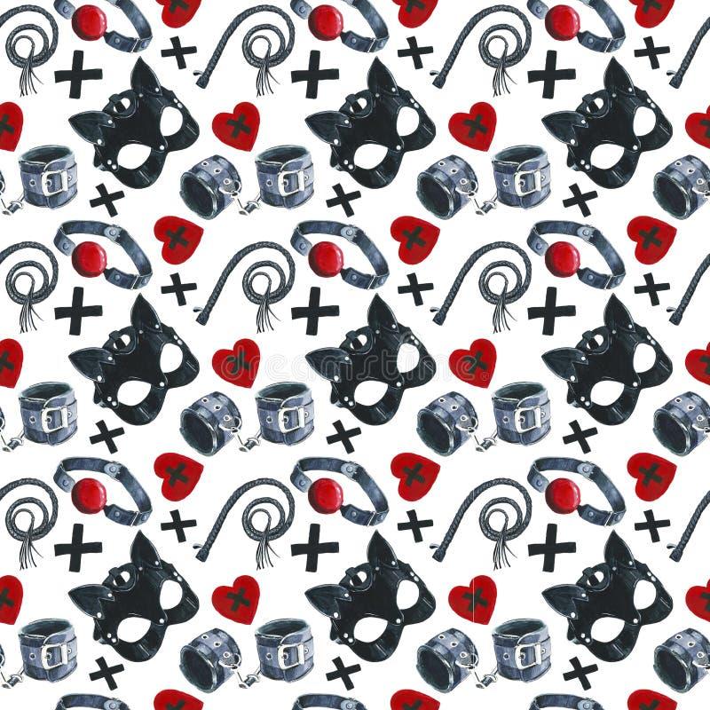 Akwarela wzór z obrazem tematy dla plciowych gier, skóry maska, kajdanki, bat ilustracji