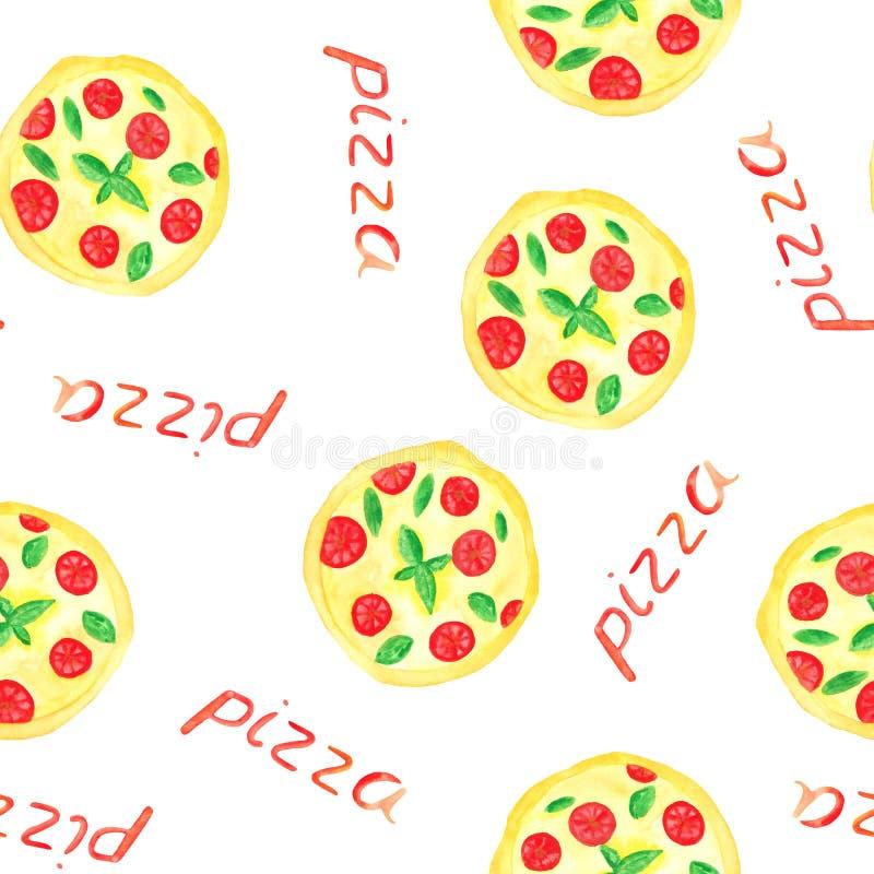 Akwarela wzór z pizzą, pizza plasterki, pizzy inskrypcja ilustracja wektor