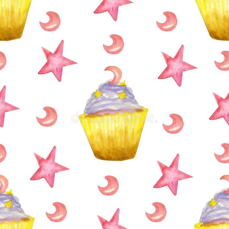 Akwarela wzór z purpurowymi puncakes, gwiazda i księżyc ilustracja wektor