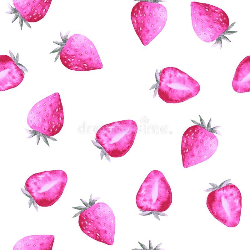 Akwarela wzór z słodkimi truskawkami ilustracja wektor