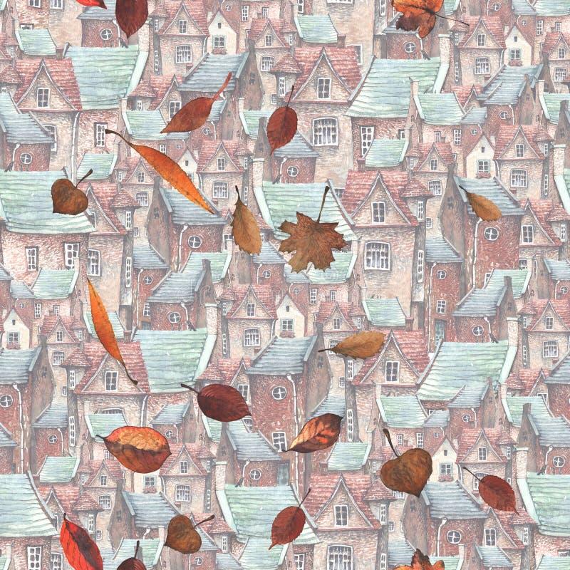 Akwarela wzór z starym miasteczkiem spada liśćmi i ilustracja wektor