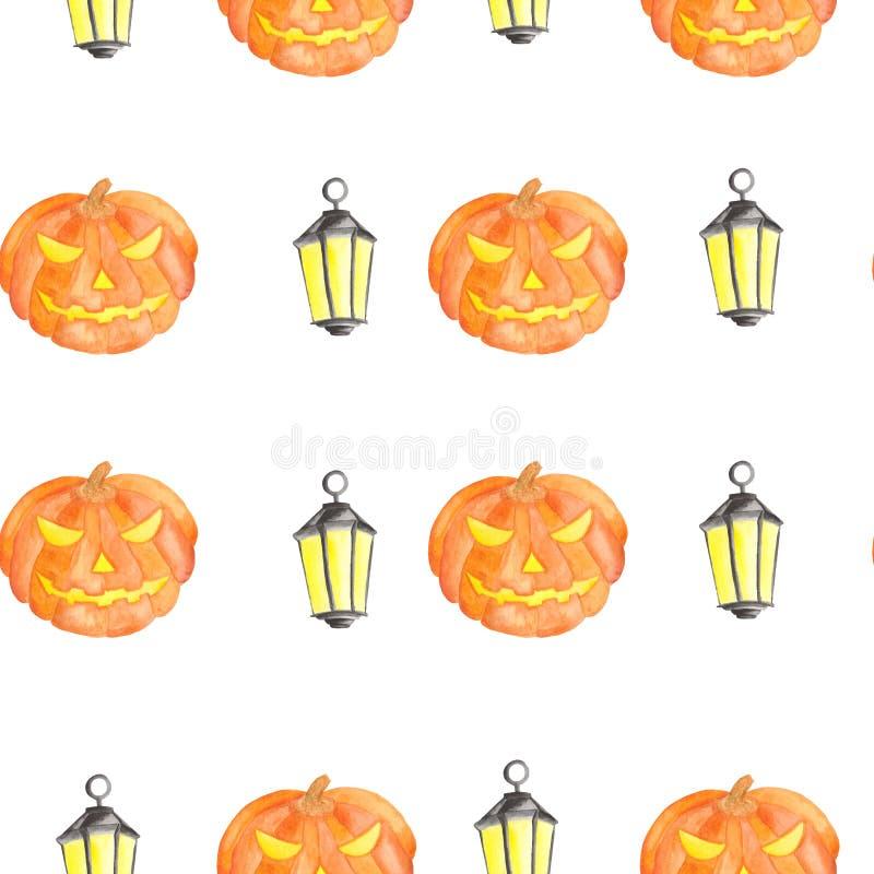 Akwarela wz?r dla Halloween z bani? ilustracja wektor