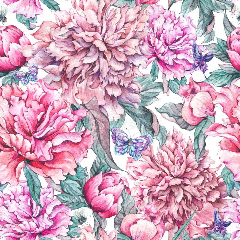 Akwarela wzoru bezszwowa menchia kwitnie peonie ilustracji