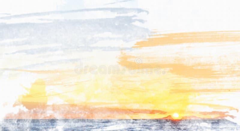 Akwarela zmierzch nad Valsbay zdjęcie stock
