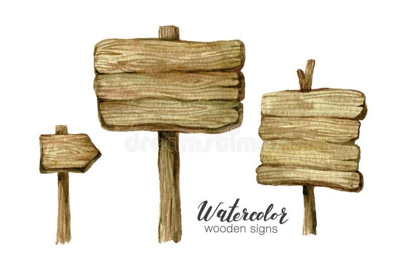 Akwarela znaka drewniane deski i strzała ustawiający Handpainted inkasowy akwareli drewno zaszaluje clipart Nieociosana ilustracj ilustracji