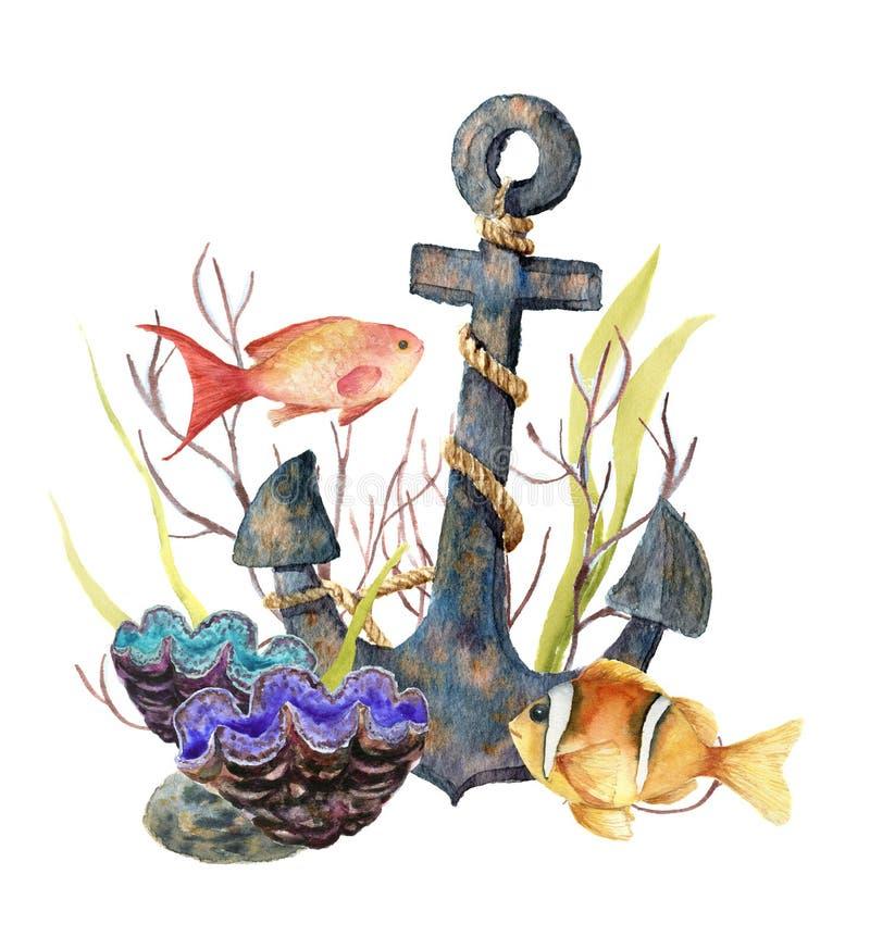 Akwarela zwrotnika morza karta Wręcza malującej zwrotnik ryba, stara kotwica, denni anemony, gałęzatki, koral odizolowywający na  ilustracji