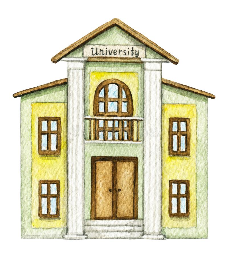 Akwareli żółtej kreskówki uniwersytecki budynek ilustracja wektor
