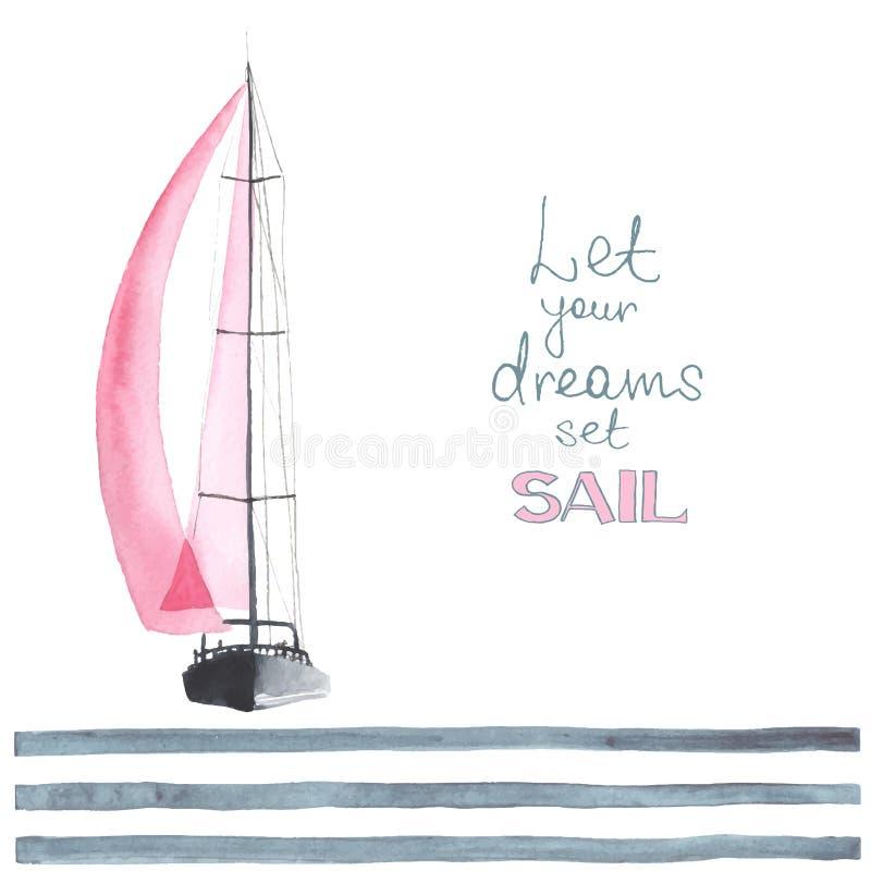 Akwareli łódź z żaglami ilustracji