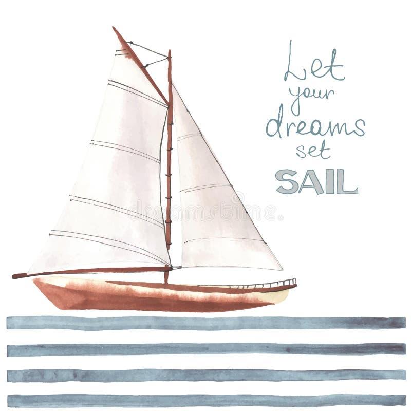 Akwareli łódź z żaglami ilustracja wektor