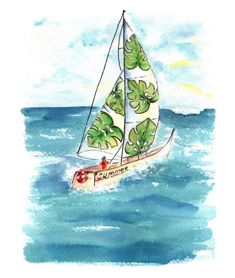 Akwareli łódź z żaglami przy morzem zdjęcie stock
