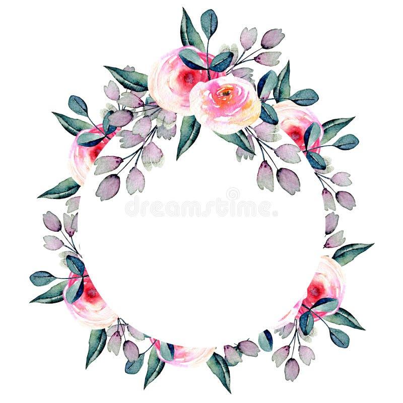Akwareli ładny róż, błękita i purpur gałąź okrąg, ilustracji