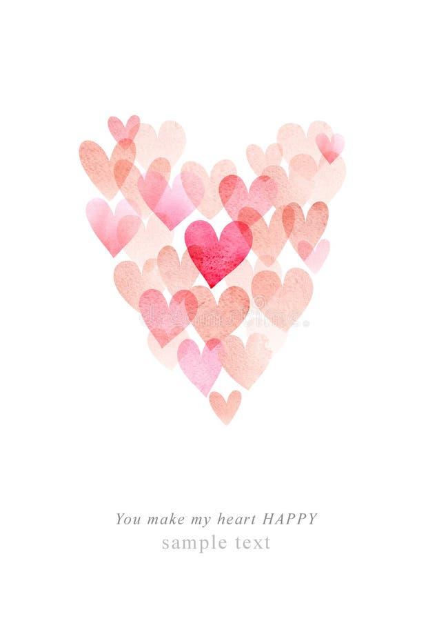 Akwareli śliczna romantyczna karta z sercem fotografia royalty free
