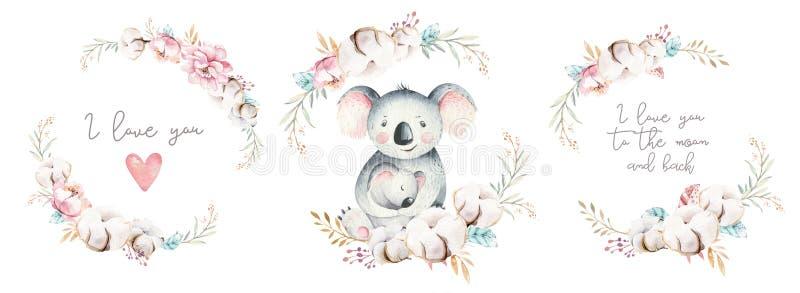 Akwareli ślicznej kreskówki mały dziecko i mamy koala z kwiecistym wiankiem Odosobniona tropikalna ilustracja matka dziecka royalty ilustracja