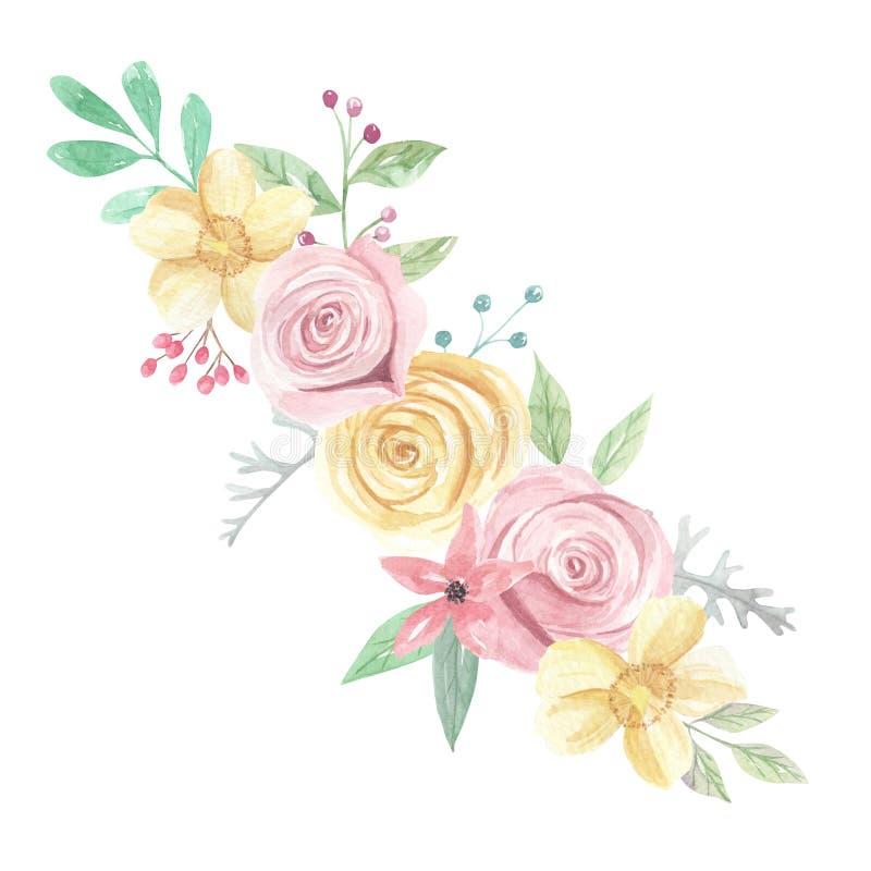 Akwareli Żółtych róż jagod kwiatów wiosny Różowy lato Poślubia Kwiecistego bukiet ilustracja wektor