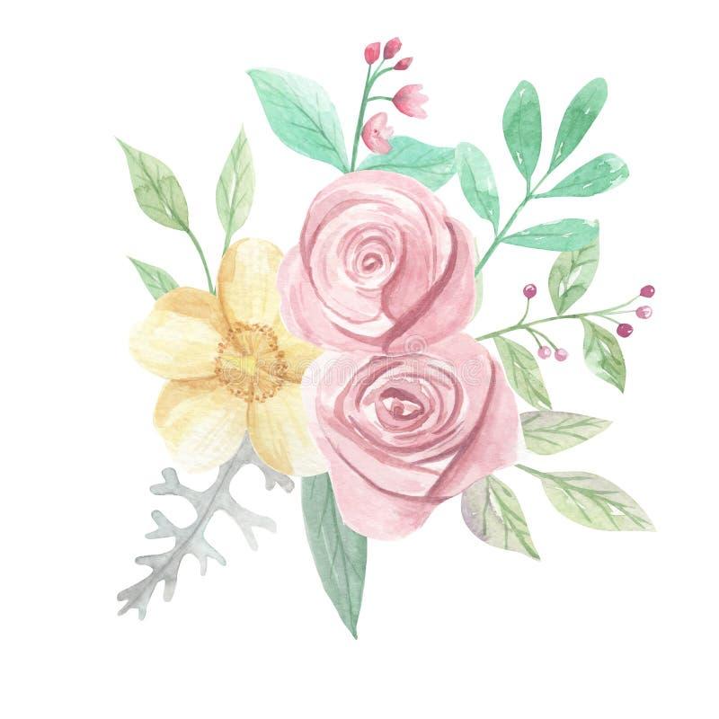 Akwareli Żółtych róż jagod kwiatów wiosny Różowy lato Poślubia Kwiecistego bukiet ilustracji
