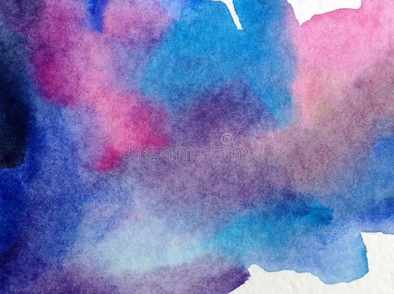 Akwareli abstrakcjonistyczny jaskrawy kolorowy textural t?o handmade Obraz niebo i chmury podczas zmierzchu Nowo?ytny seascape Sh ilustracja wektor