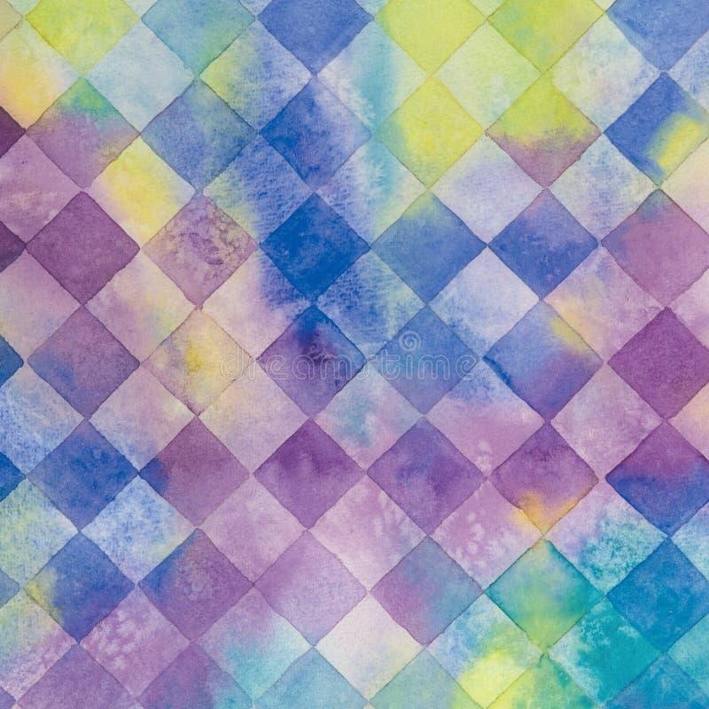 Akwareli abstrakcjonistyczny karowy tło z kroplami i pluśnięciami ilustracja wektor
