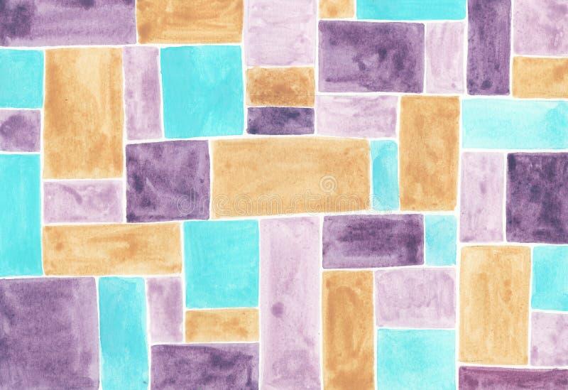 Akwareli abstrakcjonistyczny t?o z stubarwnymi kwadratami royalty ilustracja